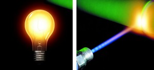 laser versus žárovka