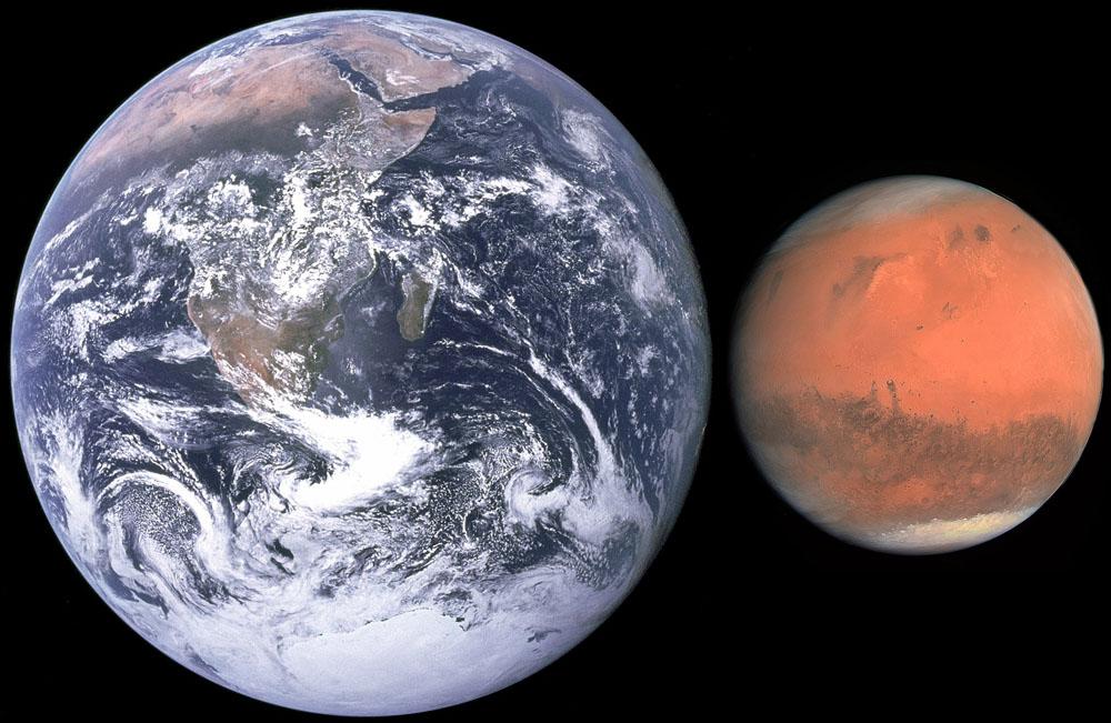 porovnání velikosti Země a Marsu